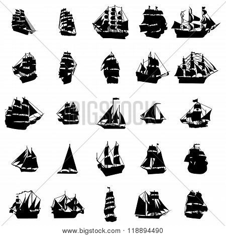 Sailing ship silhouette set. Sailing ship silhouette icons. Sailing ship silhouette signs. Sailing ship set. Sailing ship set art. Sailing ship set web. Sailing ship set new. Sailing ship set www