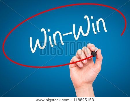 Man Hand Writing Win-win  With Black Marker On Visual Screen
