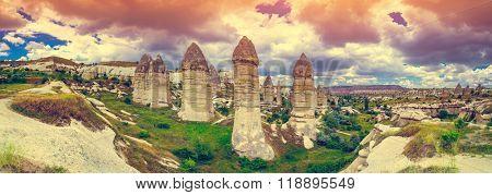 Spectacular rocks formations near Goreme, Cappadocia, Turkey