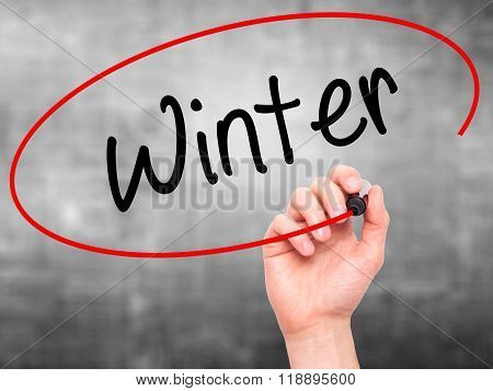 Man Hand Writing Winter With Black Marker On Visual Screen