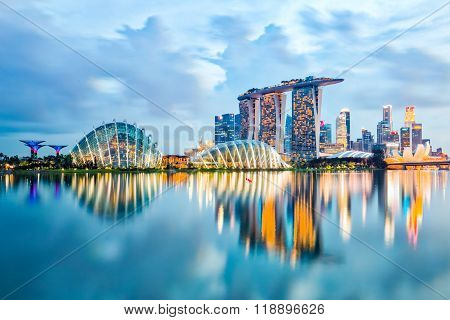 Singapore Skyline And View Of Marina Bay At Night