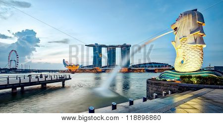 Panorama View Of Merlion And Singapore City At Night