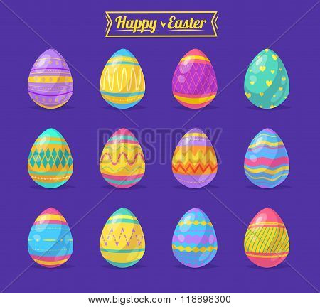 Set of Easter eggs. Vector cute cartoons