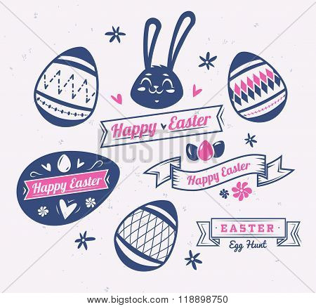 Set of Easter logos and labels. Vector cute illustration