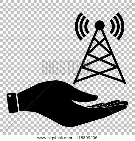 Antenna sign. Flat style icon