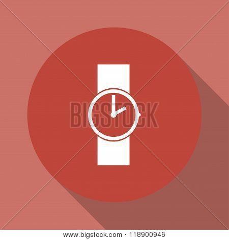 Wristwatch Icon. Flat Design Style.