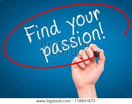 Man Hand Writing Find Your Passion! With Marker On Transparent Wipe Board Isolated On Blue