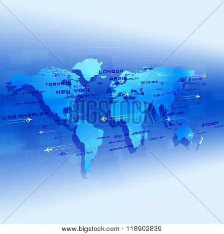 Global Aviation Blue Background