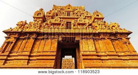 The magnificent temple entrance or Gopura architecture of Brihadeeswara Hindu temple at Thanjavur