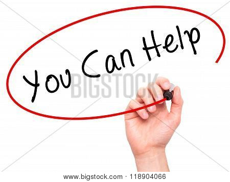 Man Hand Writing You Can Help On Visual Screen