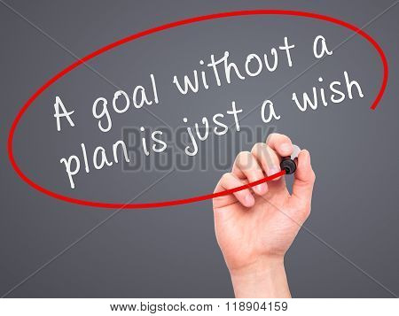 "Man Hand Writing ""a Goal Without A Plan Is Just A Wish"" Black Marker On Visual Screen"