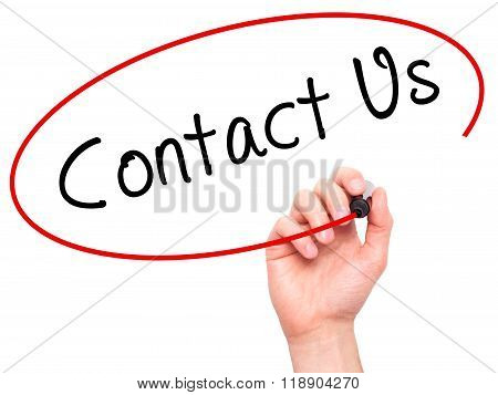 Man Hand Writing Contact Us With Marker On Transparent Wipe Board Isolated On White