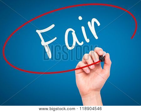 Man Hand Writing Fair Black With Marker On Visual Screen