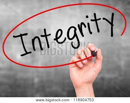 Man Hand Writing Integrity Black Marker On Visual Screen