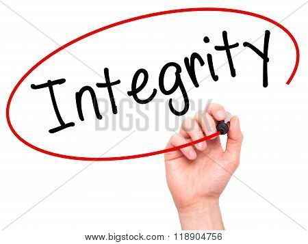 Man Hand Writing Integrity Black Marker On Visual Screen