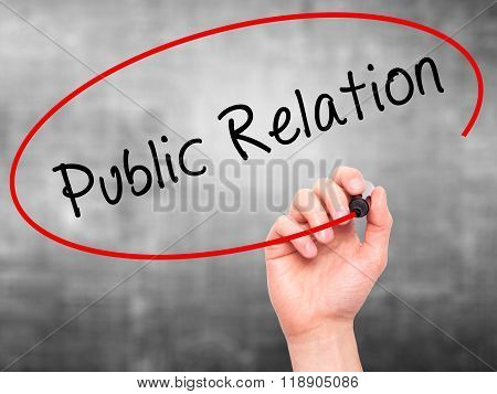 Man Hand Writing Public Relations With Marker On Transparent Wipe Board Isolated On Grey