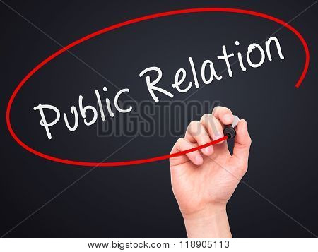 Man Hand Writing Public Relations With Marker On Transparent Wipe Board Isolated On Black