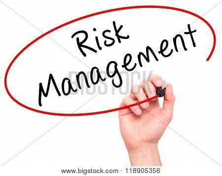 Man Hand Writing Risk Management With Marker On Transparent Wipe Board