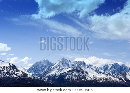 Snow covered beautiful mountain peaks