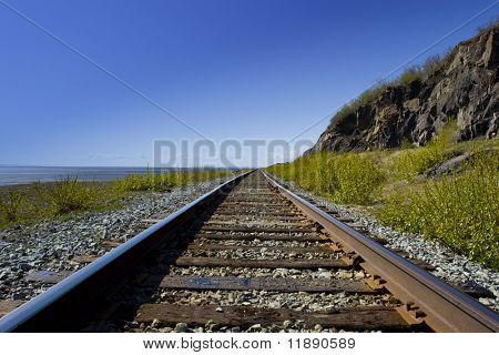 Railroad tracks in the wilderness
