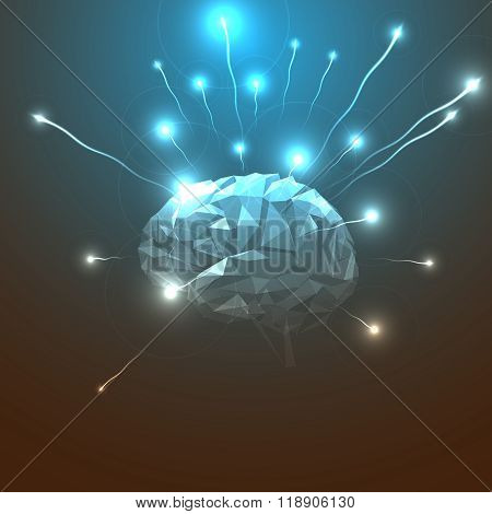 Side View of Abstract Human Head with a Brain.