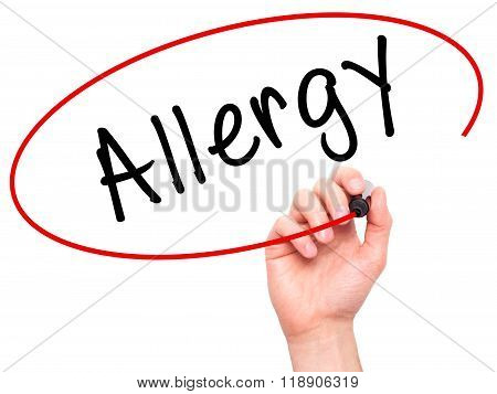 Man Hand Writing Allergy With Marker On Transparent Wipe Board