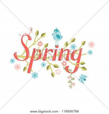 Spring vector lettering