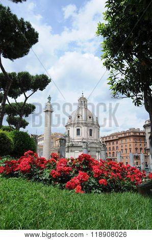 Roman Garden With A Religious Background Basilica