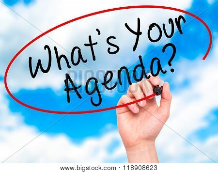 Man Hand Writing What's Your Agenda With Marker On Transparent Wipe Board
