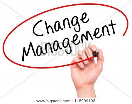 Man Hand Writing Change Management On Visual Screen