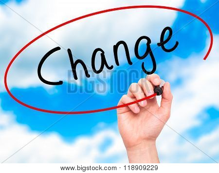 Man Hand Writing Change With Marker On Transparent Wipe Board
