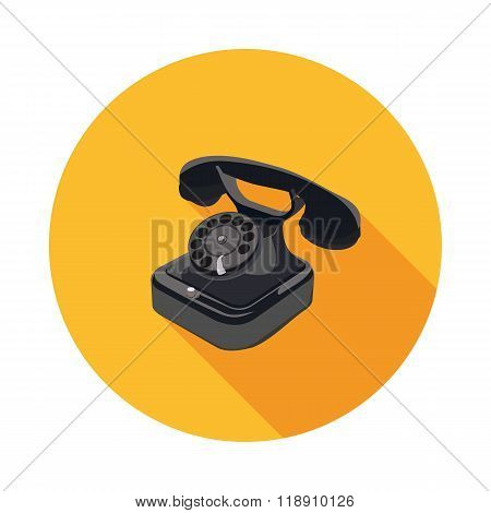 Flat Icon Of A Rotary Phone