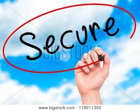 Man Hand Writing Secure With Marker On Transparent Wipe Board