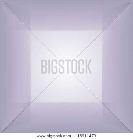Vector square box with blank inner space. 3D gray lit empty room interior perspect view. Photobox inside.