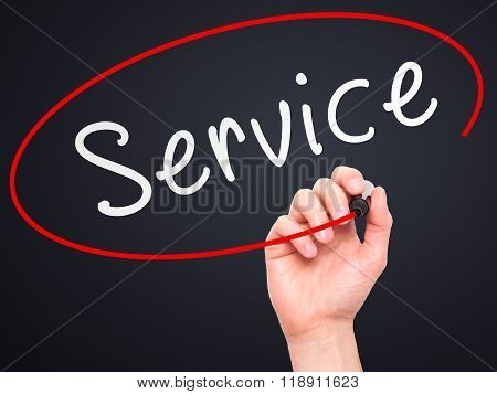 Man Hand Writing Service On Visual Screen