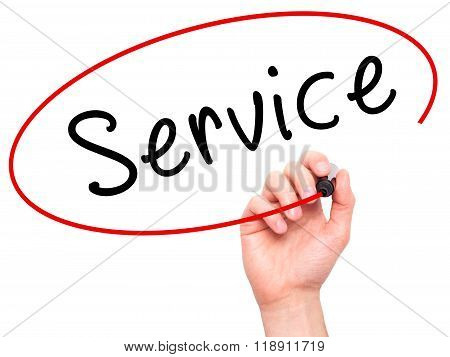 Man Hand Writing Service On Visual Screen