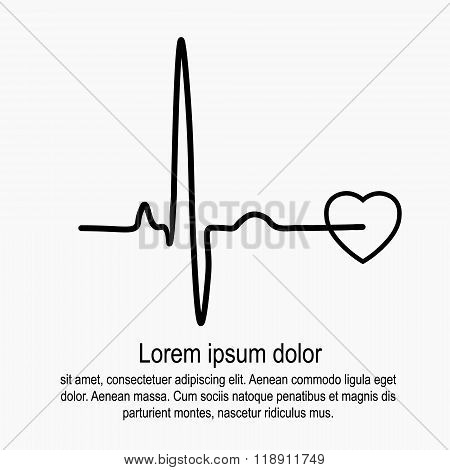 Heart rate and pulse on white background