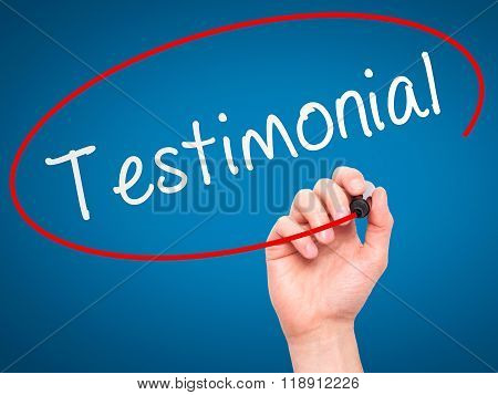 Man Hand Writing Testimonial On Visual Screen