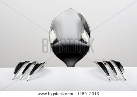 Figure Of Spoon And Two Forks.