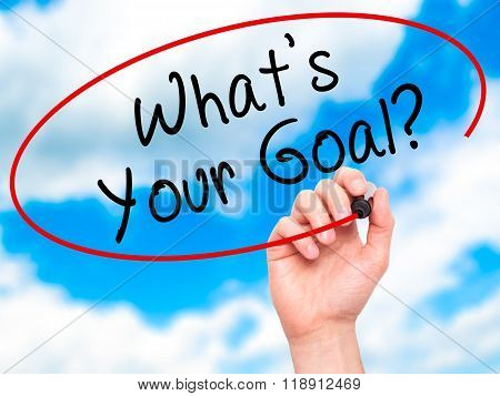 Man Hand Writing Whats Your Goal On Visual Screen