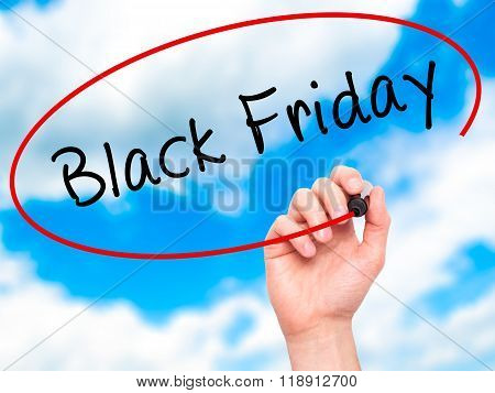Man Hand Writing Black Friday With Black Marker On Visual Screen