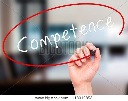 Man Hand Writing Competence With Black Marker On Visual Screen