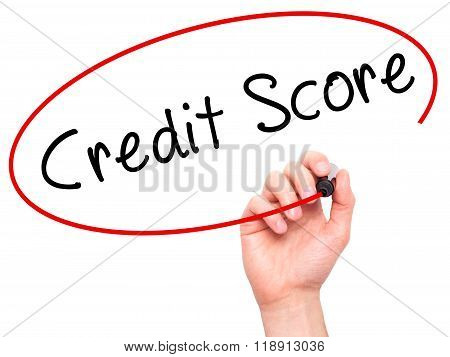 Man Hand Writing Credit Score Black Marker On Visual Screen