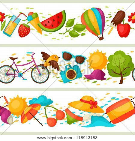 Seamless patterns with stylized summer objects. Background made without clipping mask. Easy to use f