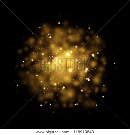 Gold glitter particles background effect. Sparkling texture. Star dust sparks in explosion on black background. Vector Illustration