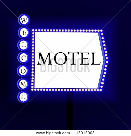 Retro Banner With Glowing Lights Motel And Welcome. Banner In The Form Of Arrows.