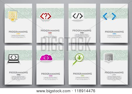 Corporate identity vector templates set with doodles programming theme