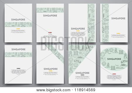 Corporate identity vector templates set with doodles Singapore theme