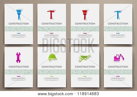 Corporate identity vector templates set with doodles construction theme