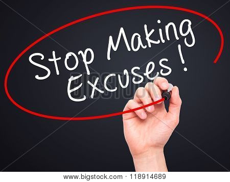 Man Hand Writing Stop Making Excuses With Black Marker On Visual Screen